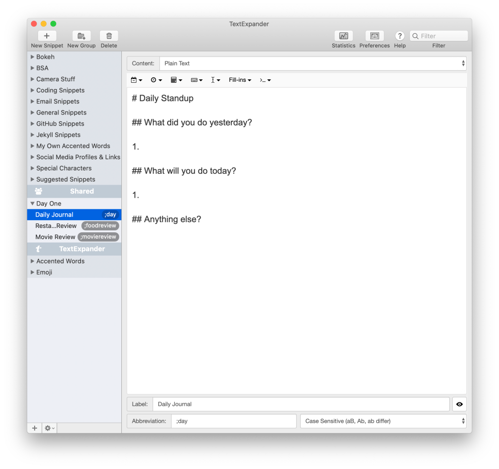 Screenshot of TextExpander